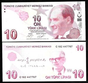 TURKEY -  P 223c - 10 TURK LIRA - 2009 - GEM UNC - PREFIX C - MUSTAFA KEMAL