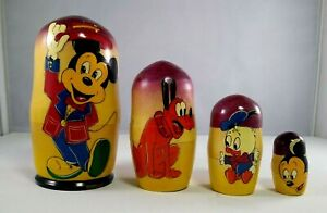 Vintage Mickey Mouse Hand Painted Russian Nesting Dolls Collectible Wooden Toys