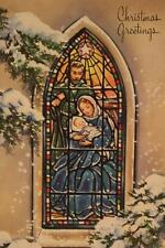 Vtg 'Christmas Star' 50s UNUSED Embossed GREETING CARD Holy Family Stained Glass
