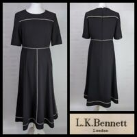 Lk Bennett Dr Indina Fit and Flare Dress Black with Cream Piping Size 12