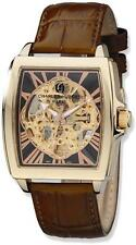 Charles Hubert Brown Strap/IP-plated Skeleton Dial Automatic Watch