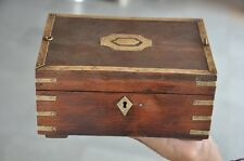 Old Wooden 6 Compartment Handcrafted Brass Fitted Jewellery Box