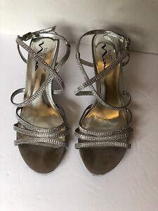 "Touch of Nina, shoes, Strappy Rhinestone Sandals Silver w 2 1/2"" heel size  8.5"