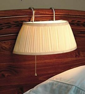 Headboard Reading Light Fixture Vintage Lamp Bedroom White Fabric Pull Chain New
