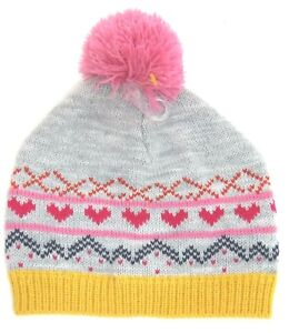 JOHN LEWIS Girls Fair Isle BOBBLE HAT Knitted Pink GREY Childs S/M   4-8 years