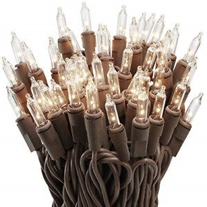 612 Vermont 100 Clear Mini Christmas String Lights on Brown Wire Cord, UL for /