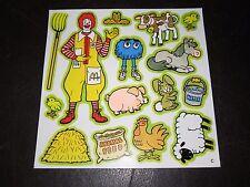 Vintage McDonald's 1986 Colorforms Sheet NEW NOS Ronald Fry Kid Farm Animals