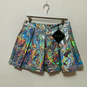 Lip Service Cult Holographic Pleated Mini Skirt XL NWT Please Read