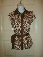 NWT NEW MACYS INC TOP SMALL SPANDEX BELTED BUTTON DOWN SHIRT
