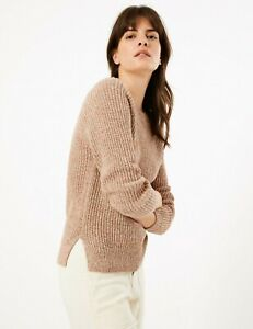 LADIES EX MARKS & SPENCER PURE COTTON CHUNKY KNIT RELAXED JUMPER 2 COLOURS M&S