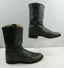 Men's Justin Gray Leather Western Roper Boots Size : 9 B *NARROW *