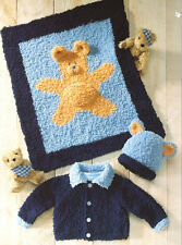 "Baby Cardigan Hat/Teddy Motif Blanket 16 - 22"" Chunky Snowflake Knitting Pattern"
