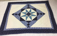 Patchwork Quilt Wall Hanging, Star, Four Patch, Floral Calico Prints, Navy, Blue