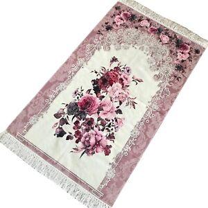 Bazachi Digital Floral Cotton Prayer Rug(Adult)-Large Prayer Mat-125x67cm-D.Pink
