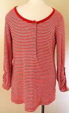 Splendid Henley Top Shirt Stripe Long Sleeve Red Medium Cotton Women