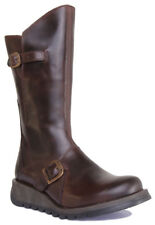 Womens Fly London Mes 2 Dark Brown Leather Mid Calf Ankle Ladies Flat BOOTS Size UK 7 / EU 40