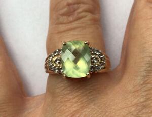 9ct Gold Prehnite Ring Size N/O Gems TV