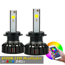 2Pcs/Set  H7 72W RGB LED Headlight High Low Dual Beam APP Control Color Changing