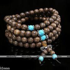 8mm Mens Buddha Prayer Bead Meditation Natural Wood Wenge Mala Necklace Bracelet