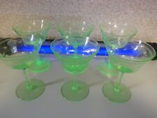 Set of 6 Green Depression Uranium/Vaseline Etched Glass Optic Panel Sherbets