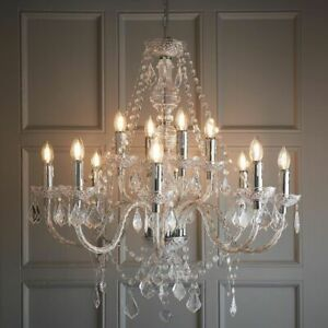 ENDON CLARENCE 12 Lights Dimmable Chandelier Acrylic & Chrome Plate 308-8-4CL