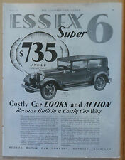 1928 magazine ad for Essex Super Six - Costly Car Looks and Action, 4-door sedan
