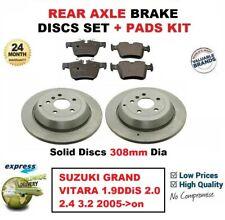 FOR SUZUKI GRAND VITARA 1.9DDiS 2.0 2.4 3.2 2005-> REAR BRAKE PADS + DISCS 308mm