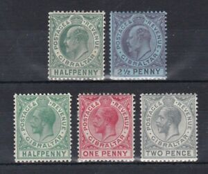 small collection of 5 mint EVII and GV stamps from Gibraltar. CV £12