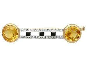 6.69 ct Citrine 0.28ct Diamond and Onyx 14k Yellow Gold Brooch Antique 1920s