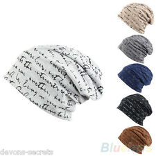 Mens boys slouch baggy oversize graffitti beanie hat cap 6+ COLOURS new 9720