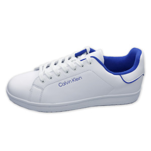 NWT CALVIN KLEIN AUTHENTIC MEN'S WHITE BLUE LACE UP SNEAKERS SHOES SIZE 12