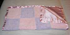 LULLABY CLUB BABY GIRL PURPLE LAVENDER PINK SQUARE BLOCK PATCHWORK BLANKET SATIN