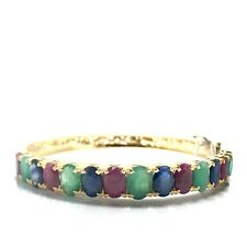 14k Yellow Gold Natural Sapphire, Ruby, and Emerald Bangle