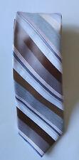 Perry Ellis Portfolio men tie skinny striped beige brown necktie !!!
