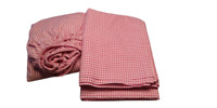 Pottery Barn Kids Pink 100% Cotton Pink Gingham Flat/ Fitted  Set 2 PC