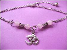 OM Silver Chain Rose Quartz Beaded ANKLET