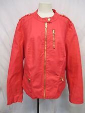 Calvin Klein Women's 3XL Pink Coral Faux Leather Full Zip Jacket MSRP $169 W59