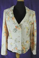 KALIKO Pale Orange Floral Blazer UK10/EU36 Fully Lined Pure Linen Spring/Summer