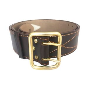 Officer brown leather belt stitched thread leather lining cast brass buckle army