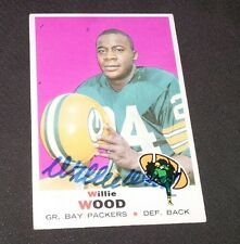 Autographed Willie Wood 1969 Topps Card #168 Green Bay Packers Hall of Fame 1989