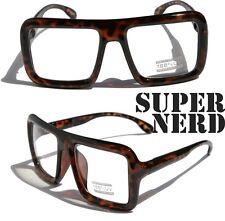 Large Retro Nerd Bold Thick Square Frame Classic Eye-Glasses Tortoise Clear lens