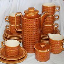 Vintage HORNSEA England SAFFRON tea COFFEE SET 8 trios pot sugar milk spare 22pc