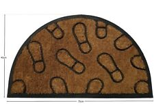 Natural Coir Rubber Back Non Slip Doormat Floor Outdoor Door Mat Half Moon 45x75