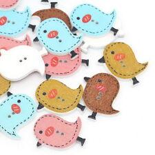 50PCs Mixed Wood Sewing Buttons Scrapbooking Cartoon Bird 2 Holes 26x23mm