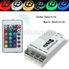 24 Key RGB LED Strip Music Sound 3 Channel w/ IR Remote Controller Dimmer 12-24V