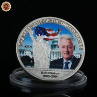 WR 42nd President of the United States Bill Clinton Colored Silver Coin Souvenir