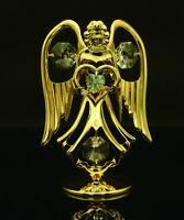 SWAROVSKI CRYSTAL ELEMENT AUGUST BIRTHSTONE PERIDOT ANGEL 24K GOLD PLATED
