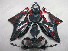 Plastic Fit for YAMAHA 2006 2007 YZF R6 Black Red Flame Injection Fairings n24