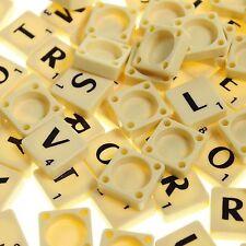 100 PLASTIC SCRABBLE TILES IVORY/BLACK LETTERS NUMBERS FOR CRAFTS UK SELLER