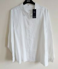 NEW M&S LADIES UK 20 PURE LINEN LONG SLEEVE SHIRT WHITE MARKS & SPENCER